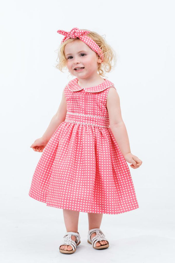 Grace: Fuchsia spot dress & headband