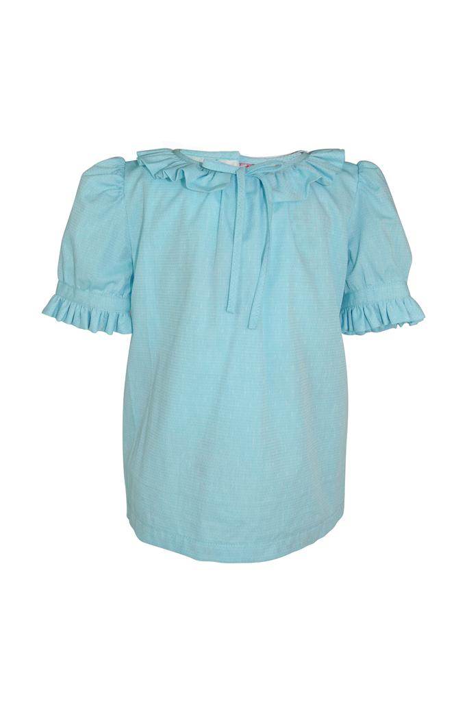 pale baby sky blue frill collar girls blouse cap sleeve bow princess smart wedding holiday