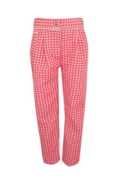 pink coral jacquard textured white polka dot spot girls trousers piped trim pockets luxury holidays wedding casual