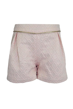 blush pink jackquard geometric diamond girls shorts gold trim piping princess smart wedding