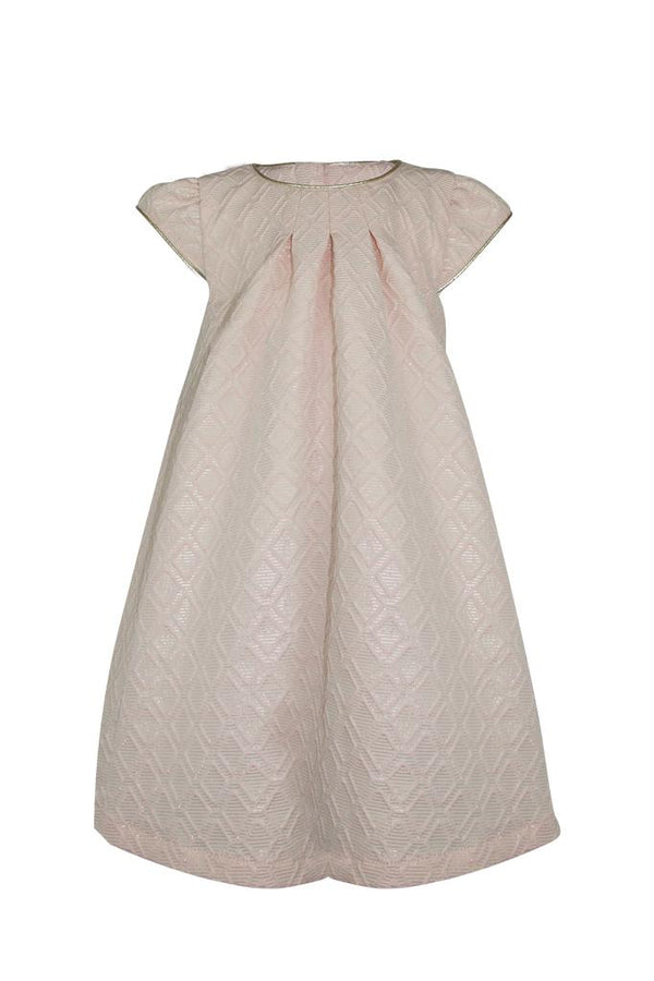 blush pink jackquard geometric diamond girls dress gold trim piping princess smart wedding luxury aline a-line lined