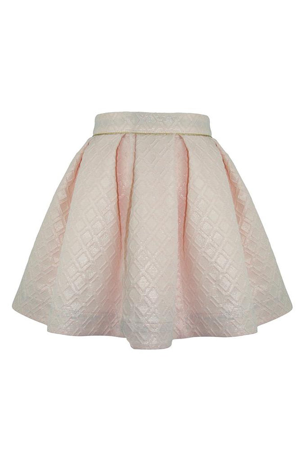 blush pink jackquard geometric diamond girls skirt gold trim piping petticoat pettiskirt princess twirl