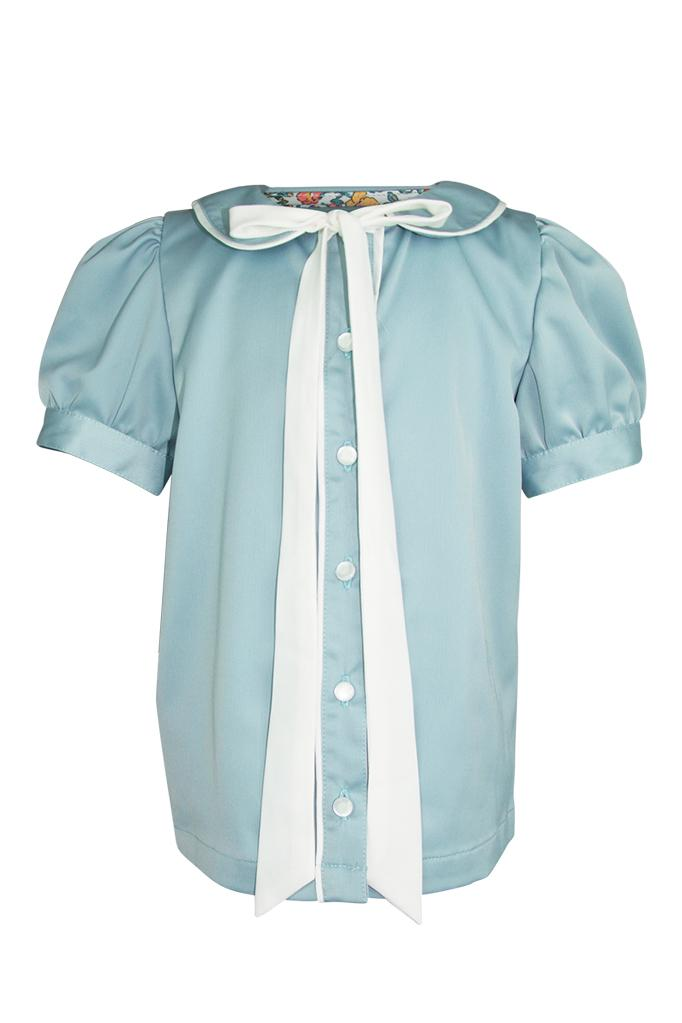 duck egg blue green girls blouse trim white piping pussy bow collar sheer cap sleeves turn ups wedding church smart luxury