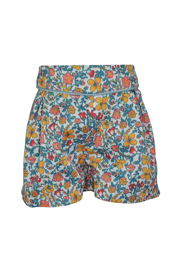 Sage floral girls shorts in sateen easy care fabric