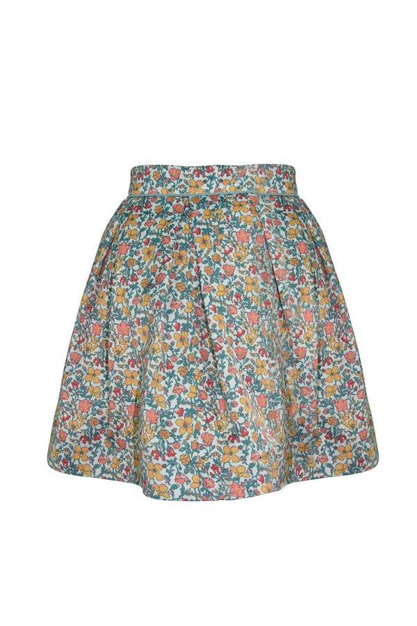 Sage floral girls petticoat skirt in luxury sateen easy care fabric