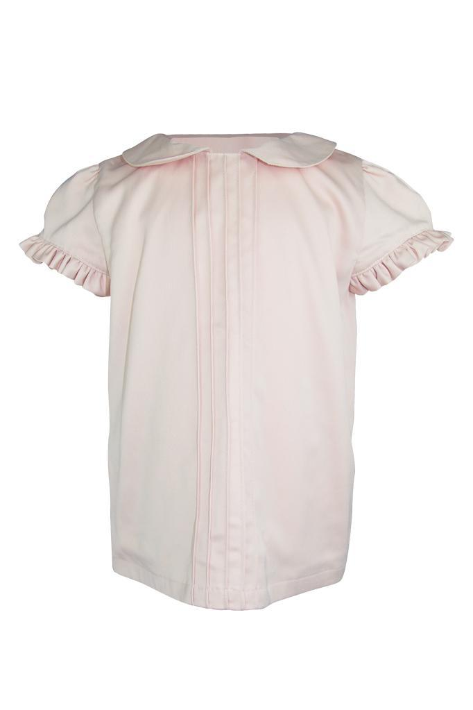 blush pink collar frill pin tucks girls blouse sateen lined puff cap sleeves luxury wedding church holiday smart