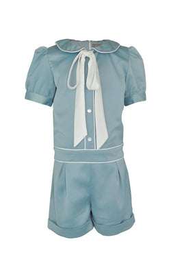 duck egg blue green playsuit shortsuit girls play suit shorts suit trim white piping pussy bow collar sheer cap sleeves turn ups wedding church smart luxury