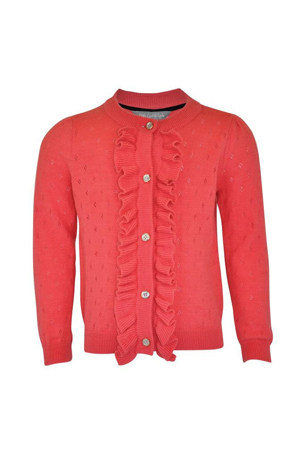 coral girls cardigan pointelle detail gold buttons frill cotton summer light