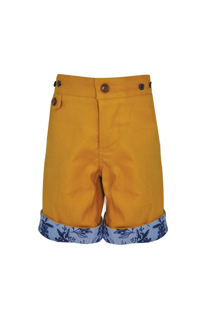 mustard yellow chino cotton stretch boys shorts with braces floral print turn up adjustable waist smart dapper holidays