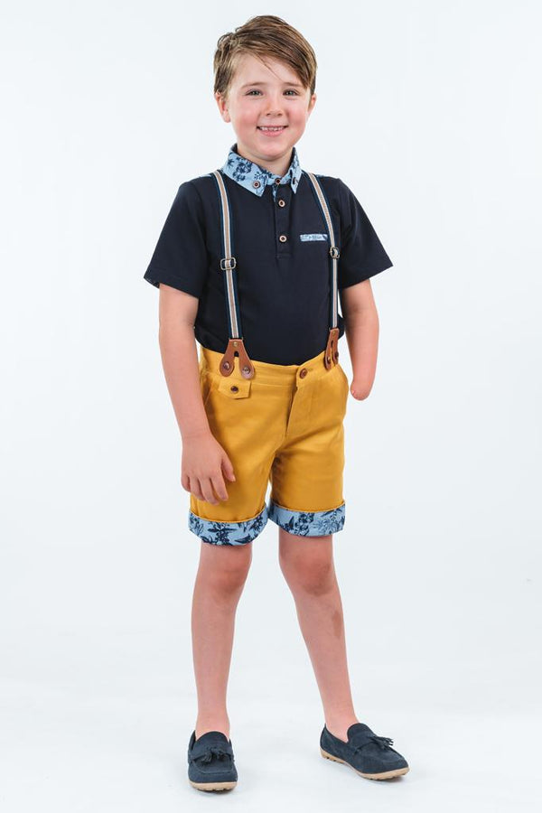 Oliver: Mustard shorts with braces