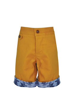 Mustard yellow chino cotton stretch boys shorts floral print turn up adjustable waist smart dapper holidays