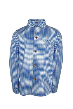 sky baby blue check on white boys shirt and bow tie chest pocket trim turn up sleeves