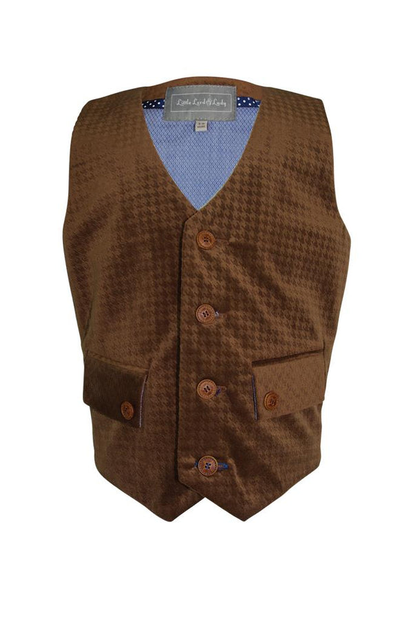 brown tan textured velvet boys waistcoat lined buttons pockets luxury wedding church holiday smart suit