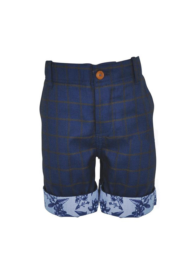 navy blue check in tan boys shorts suit floral turn up,  trim pockets wedding smart dapper