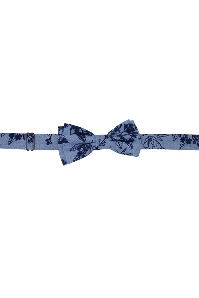 chambray baby blue navy floral printcotton boys bow tie bowtie adjustable luxury dapper wedding casual church