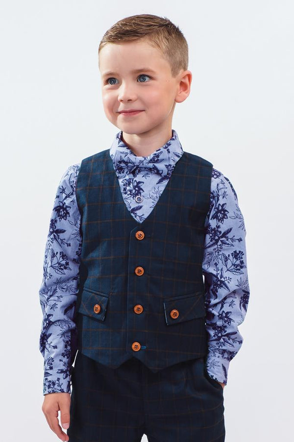 William: Navy check waistcoat