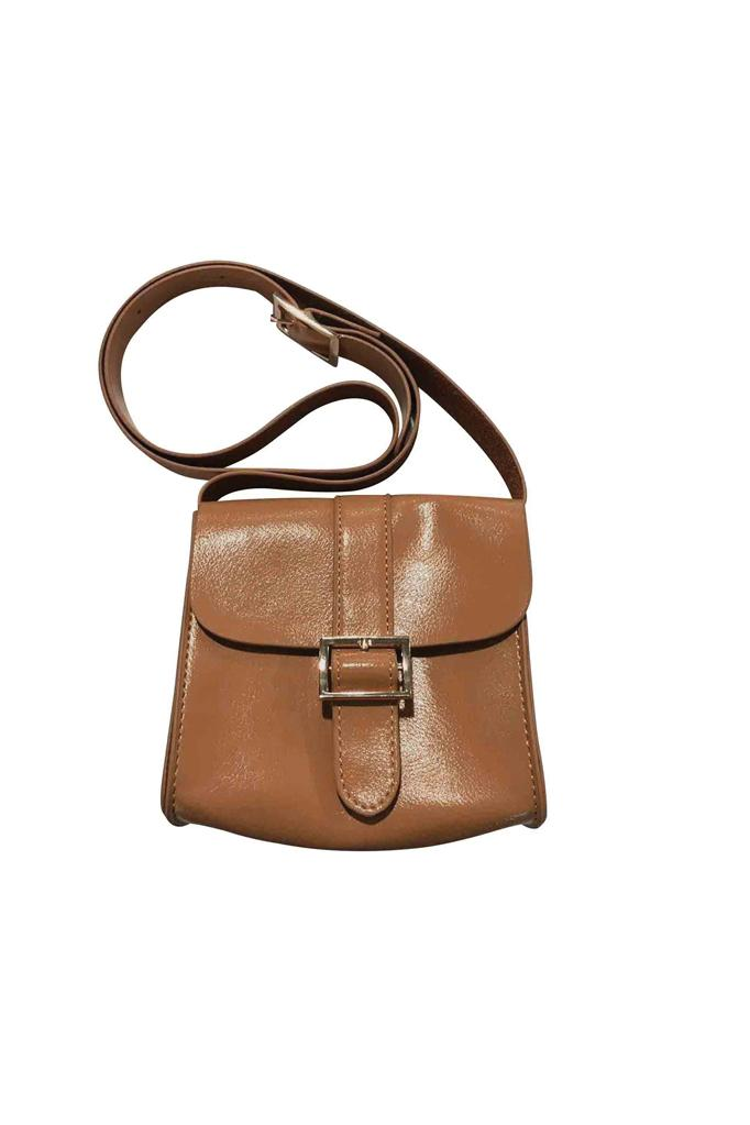 girls leather satchel shoulder bag adjustable tan