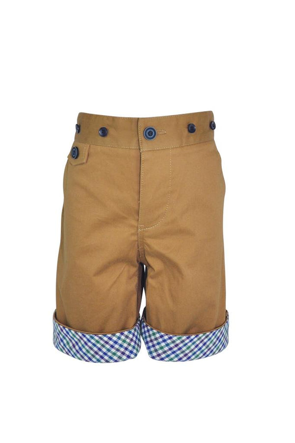 stone boys shorts in cotton with gingham turn up and braces