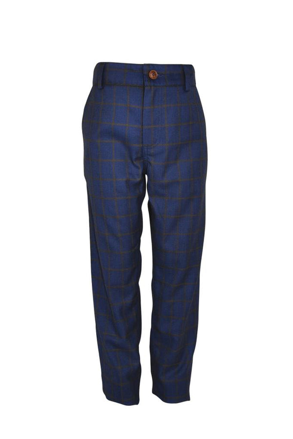 navy blue check in tan boys trousers  suit trim pockets wedding smart dapper