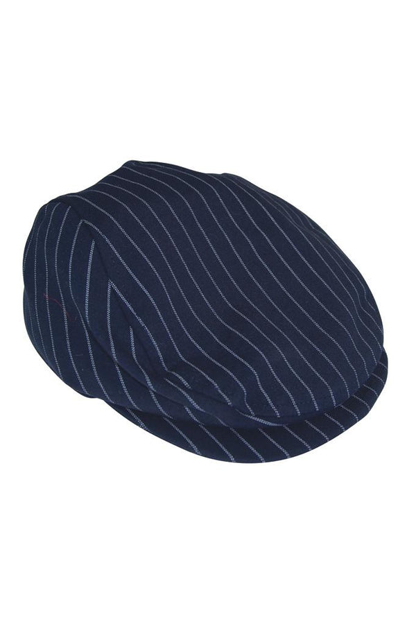 navy blue white stripe boys flatcap flatcap hat peaky blinders lined gentleman print luxury dapper wedding smart