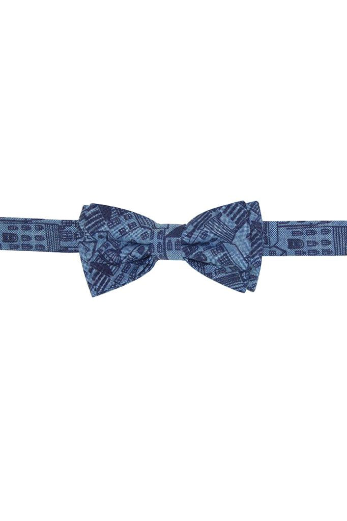 chambray blue with london skyline city print cotton boys bowtie adjustable bow tie double smart dapper wedding holidays accessories
