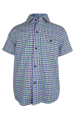 blue green purple gingham check on white botton boys shirt chest pocket trim turn up sleeves luxury wedding casual church holidays
