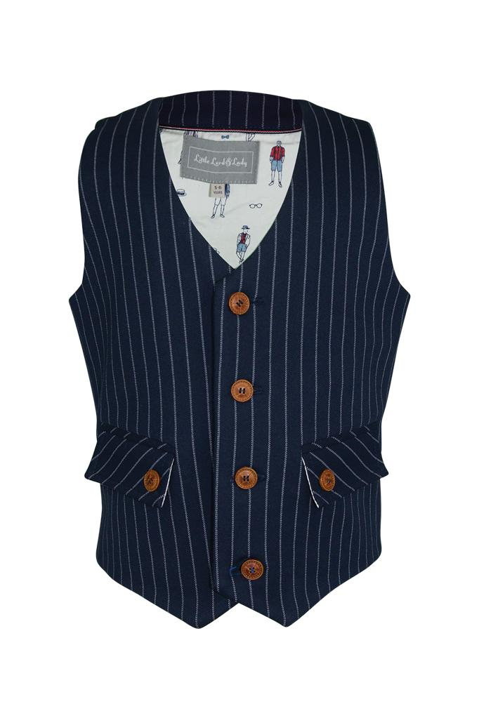 navy blue white stripe boys waistcoat lined gentleman print luxury dapper wedding smart