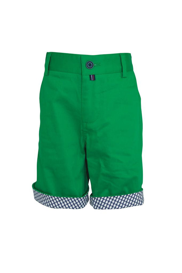 green cotton boys shorts with navy white check turn up adjustable waist dapper smart holidays