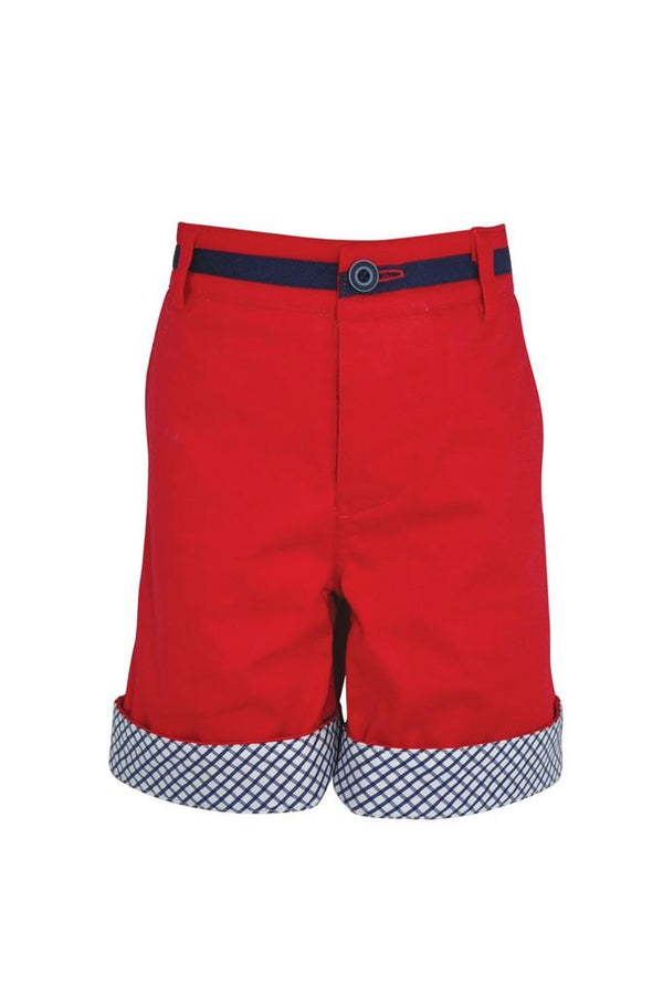 red chino cotton stretch boys shorts navy check turn up adjustable waist smart dapper holidays