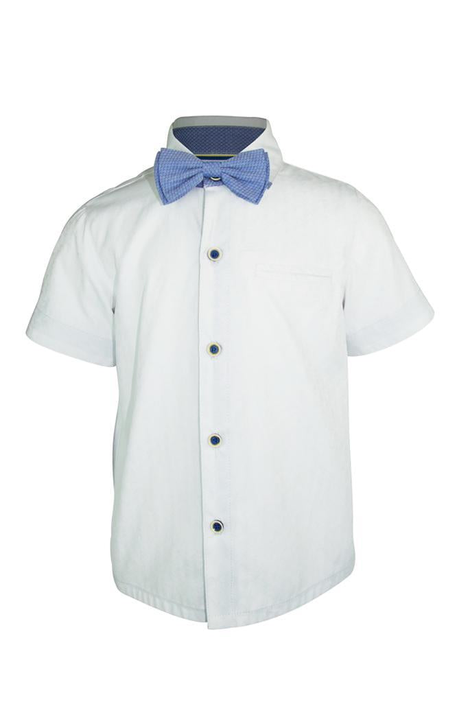 white textured boys shirt and bow tie in cotton