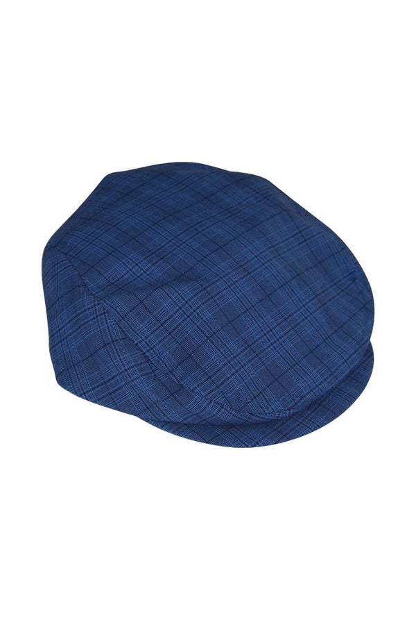 blue check cotton flat cap peaky blinders lined