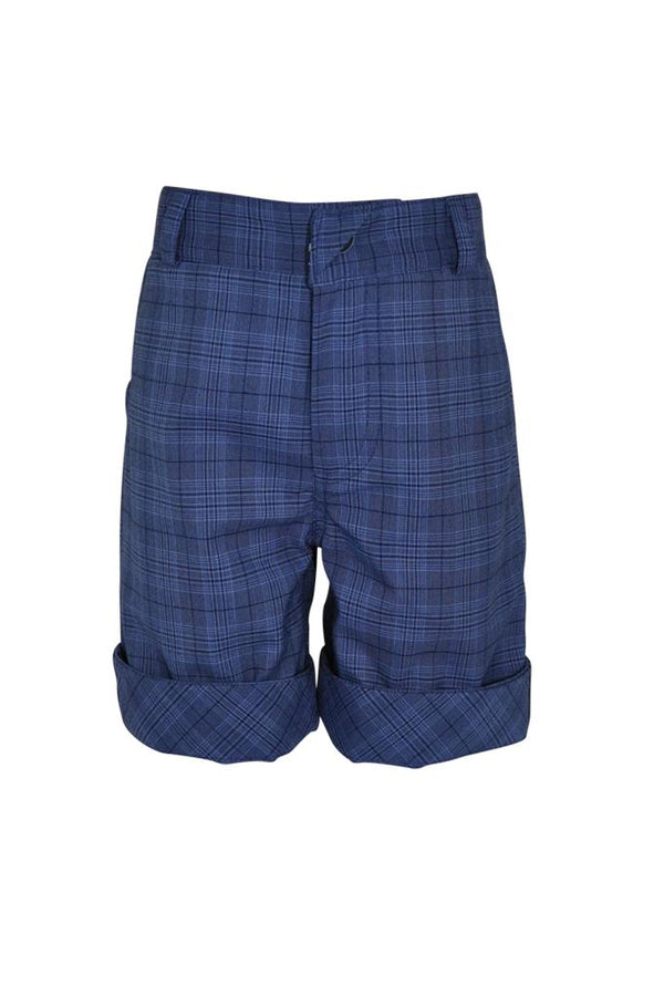 blue navy check cotton boys shorts luxury trim adjustable waist