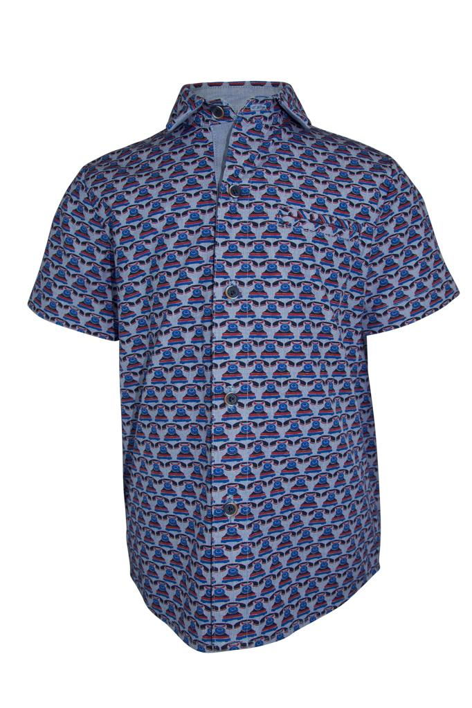 blue telephone print boys shirt in cotton