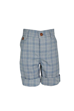 silver grey blue white check cotton boys shorts turn ups  trim buttons pockets lined luxury wedding boys dapper smart holiday church