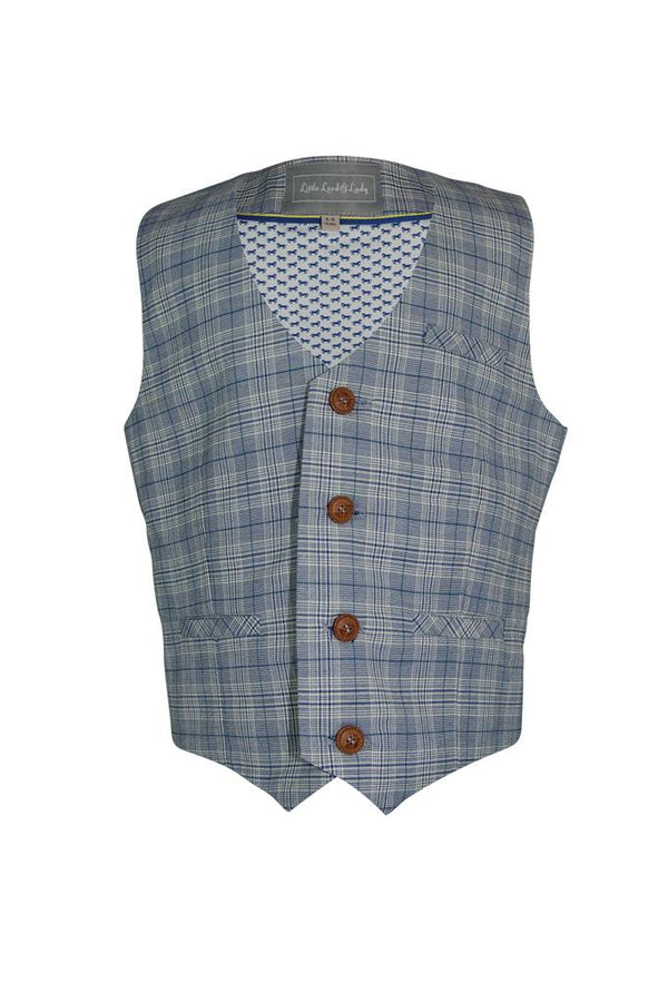 silver grey blue white check cotton boys waistcoat trim buttons pockets lined luxury wedding boys dapper smart holiday church