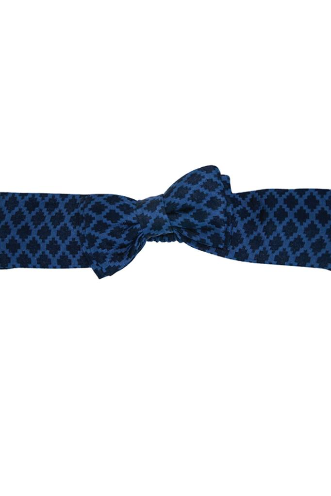 navy blue jacquard bow girls headband elasticated accessories luxury princess smart holiday