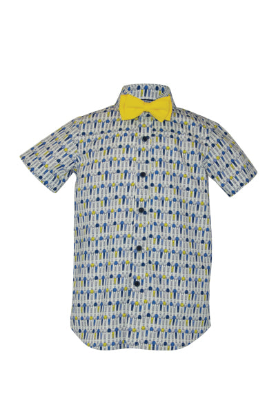 Our unique dapper gent geometric print shirt in blue navy and yellow for this cotton short sleeve shirt and sunny yellow bowtie. With contrast buttons, a contrast trim to the sleeve cuffs, this shirt is the fun option for those everyday occasions.   Team up with our Salford Quays collection for that dapper Little Lord style.  Fabric: Cotton 100%. Machine Washable