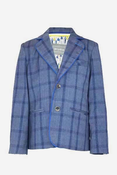 Lowry Two Piece Suit Set: Blue check blazer & Trousers