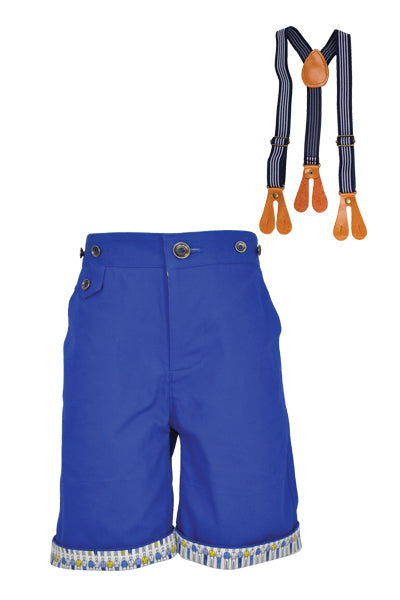 Caulfield: Blue shorts & braces