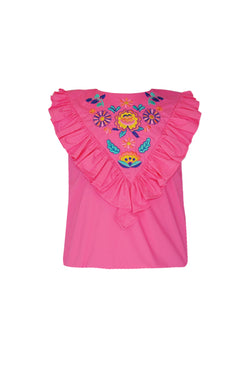 Cerise: Pink embroidered blouse