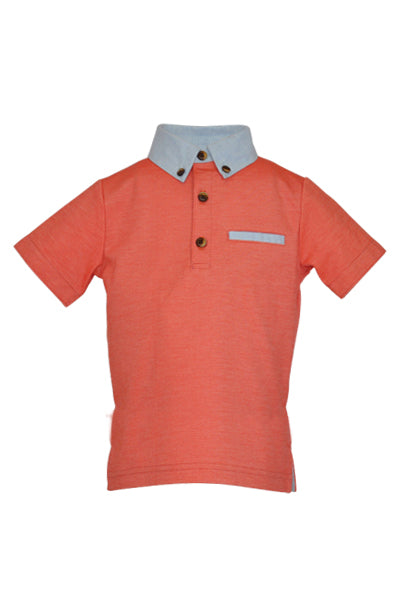 Harlech: Orange coral polo