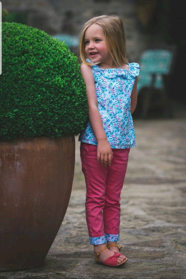 Maddie & Tarka Set : Haworth print blouse & Pink trousers & Headband