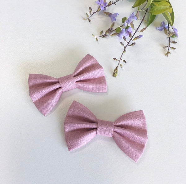 Dusty pink toddler pigtail bow set