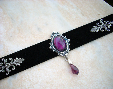 Black Velvet Choker with Onyx and Swarovski Crystal