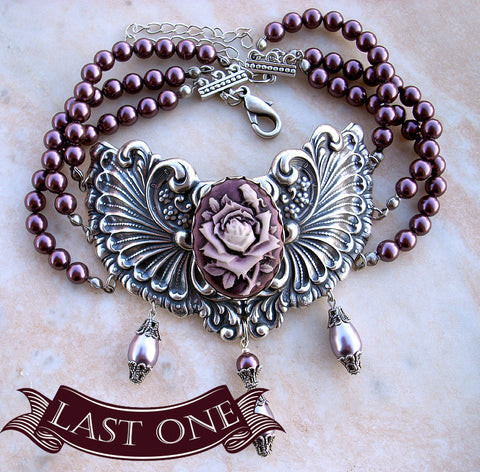 Three Strand Burgundy Pearl Choker with Purple Rose Cameo