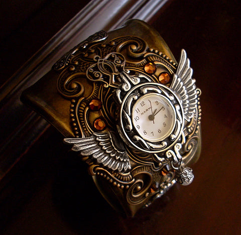 Brass Steampunk Cuff Watch with Silver Wings