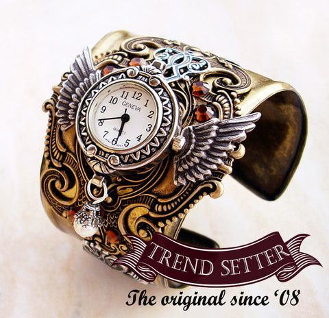 Brass Steampunk Watch Cuff -b - Aranwen's Jewelry  - 1