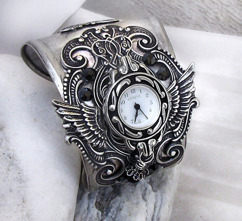 Silver Wings Watch cuff with Aquamarine Crystal