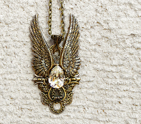 Brass Angel Wings Pendant with Blue Sodalite