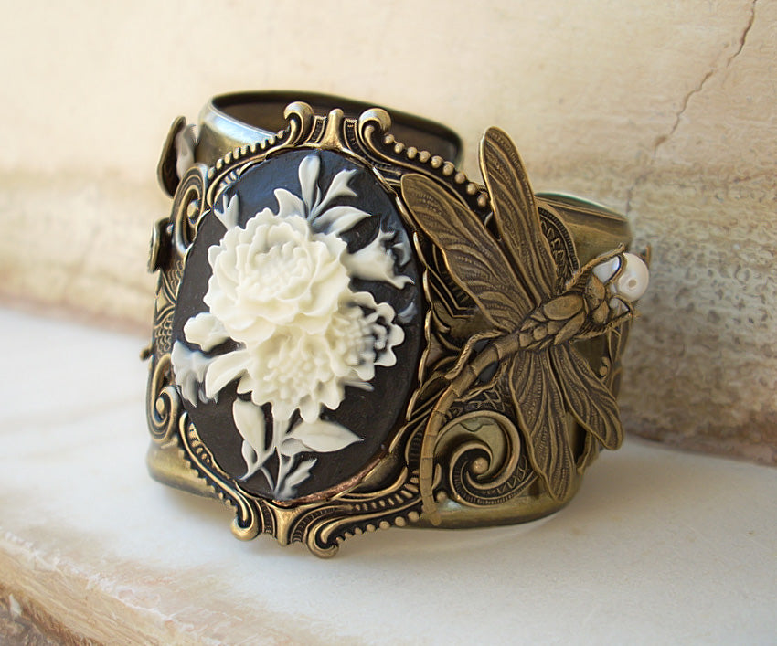 Dragonflies and Cameo Cuff Bracelet - Aranwen's Jewelry  - 1